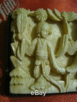Début Des Années 1900 Chinese Export Gilt Argent Ladies Bone Carved 3d & Arbres Broche Lqqk