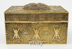 Début Du 20ème Siècle Chinois Or Doré Argent Sculpté Tiger's Eye Box