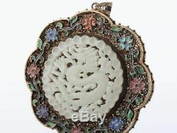 Doré Chinois Exquis À La Main D'argent Inlay Hetian Jade Pendentif Dragon