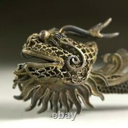 Dorure D'argent Chinoise Tête De Dragon En Épingle À Cheveux Décoré Dynastie Tang