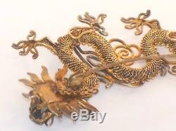 Dragon Chinois Vintage En Argent Doré Broche Rubis Yeux Vieux Fil Métallique Oriental