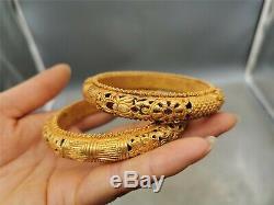 Dynastie Bracelet En Argent Doré Chinois Bracelet Creux Une Paire