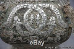 Dynastie Chinoise Bronze Argent Cuivre-gilt Dragon Foo Dog Beast Vase Pot Pot Jug
