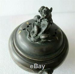 Dynastie Ming Antique Gold Chinois & Argent Bronze Marqueté Encensoir 1600 De Bonham