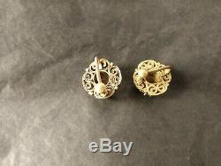 Dynastie Qing Antique Chinois Boucles D'oreilles En Argent Doré Citrine De Tourmaline Jadéite