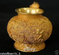Dynastie Qing Or Et D'argent Tête D'un Animal Vin Coupe De Chine Antique Nice! # 506
