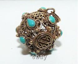 Edwardian Exportation Gilded Chinois Ballon D'argent Pendentif Turquoise Cabochon Filigrane