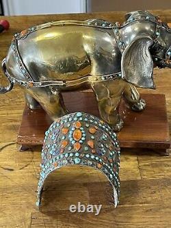 Éléphant Chinois De Gilt Argent Et D'émail Jeweled
