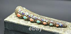 Émail Argent Vintage Sterling Chinois Turquoise Corail Clou Garde Broche