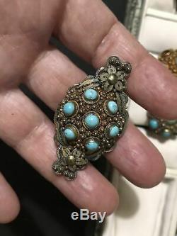 Ensemble De Bijoux Vintage Chinois En Filigrane Turquoise Doré Avec Argent