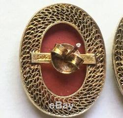 Ensemble Pendentif Et Boucles D'oreilles Vintage En Porcelaine Et Émail Doré À L'exportation