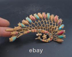 Épingle À Cheveux Chinoise Antique De Paon Doré/bijoux, 49g