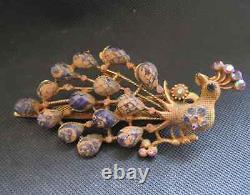 Épingle À Cheveux De Paon D'argent Doré Chinois Antique/bijoux 40g, 19ème