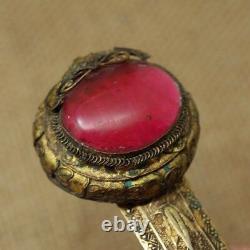 Épingle De Cheveux En Argent Gilt Chinois Antique Avec Imitation Gem Glass-hp-003