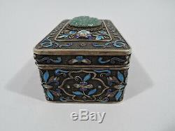 Export Boîte Antique D'asie Filigrane Chinois Vermeil Émail Jade C 1910