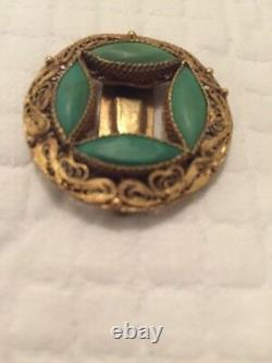 Exportation Chinoise Antique Sterling Silver Gold Gilt Turquoise Pin Broche