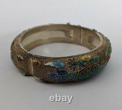 Exportation Chinoise Argent Gilt Émail Filigree Bracelet Vintage/antique