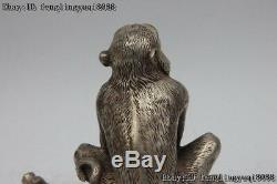 Fengshui Figurine Bronze Blanc Vermeil Singe Seat Pin Statue