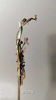 Fermoir Chinois Antique De Cheveux De Martin-pêcheur D'argent De Qing D'antique Avec Le Jadeite Normal