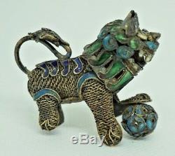 Figurine De Boule De Chien De Lion Foo En Filigrane D'émail Filigrane D'argent