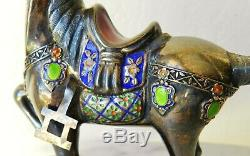 Figurine De Cheval Exportation En Porcelaine De Chine Doré Vintage Argent Sterling Silver