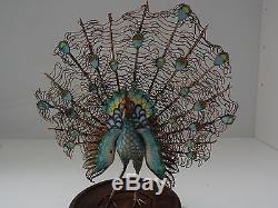 Figurine Oiseau Paon Vintage En Argent Emaillé De Chine, Chine