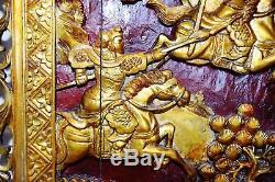 Figurines Laqué Antique Or-argent En Bois Sculpté Chinois Panneau De Guerriers