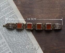 Filigrane Chinois Fait Main Bracelet En Argent Sterling Doré Naturel Agate 62g 50's