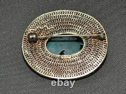 Filigrane Chinoise Antique D'argent Sterling Avec La Broche Sculptée De Malachite De Lavage D'or