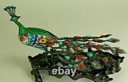 = Filigrane D'argent Gilt Chinois D'antique 1900 Et Peacock D'enamel Sur Le Stand Figurine