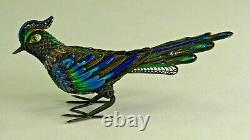 = Filigre D'argent Gilt Chinois D'antique 1900 Et Figurine D'oiseau Bleu Émail