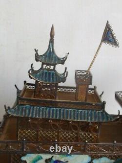 Filigre Enamel Turquoise Pagoda Boite De Navires De Junk 608 G
