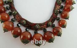 Fin 19ème C Chinois Or Monté Carnelian, Obsidian & Silver Gilt Silk Necklace