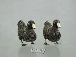 Fine Chinese Export Silver Gilt Enamel Figurine Paire Duck Birds Chine Sterling