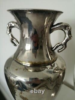 Fine Grande Paire De Double Vase D'argent/chrome Oriental, Décoration Gilt