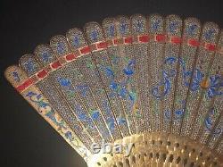 Grand Musée De Qualité Antique D'or Chinois Gilt Argent Filigree Émail Brise Fan