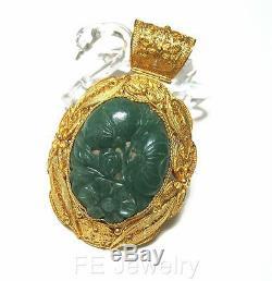 Grand Pendentif En Filigrane De Vermeil Chinois Doré Avec Jade Sculpté D'époque