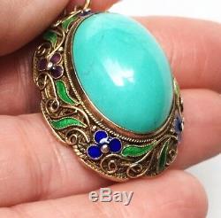 Grand Pendentif Turquoise En Émail Filigrane Doré Antique À L'exportation