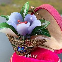 Grand Vintage Chinois Doré En Argent Doré Panier De Fleurs En Verre Broche Pendentif Broche