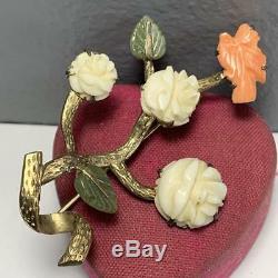 Grande Exportation Chinoise Or Broche Sculptée Corail Fleur De Jade En Argent Doré Oiseau Broche