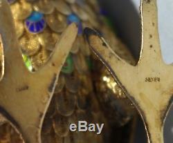 Grande Figure De Figure D'oiseau En Faisan Avec Émail En Filigrane Chinois Doré Au Xxe Siècle