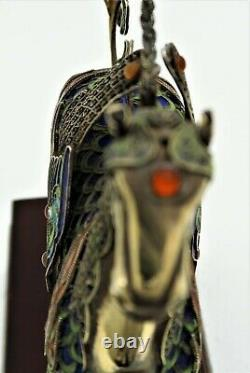 Handmade Chinese Republic Sterling Silver Gold Wash Émail Filigree Winged Horse