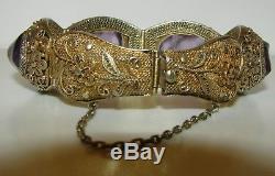 Incroyable, Grand, Antique, Chinois, Bracelet Orné En Argent Doré Avec Une Fine Améthyste