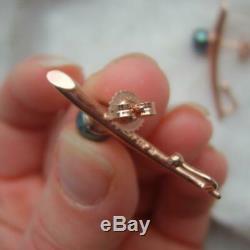 Inhabituel Chinois 925 D'or En Argent Sterling Rose Gilt Honora Black Pearl Boucles D'oreilles