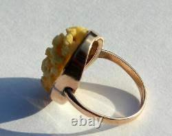 Insolite Rare Victorien 9ct Gold Oval Carved Ring Scène Chinoise Représentant Des Figures