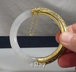 Jade Blanc De Chine Et Bracelet En Argent Ciselé Et Doré 57321