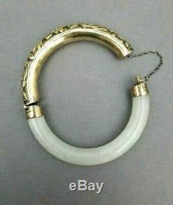 Jade Bracelet D'argent Bracelet Chinois Vintage Antique Jadéite Fleurs Gilt Vermeil