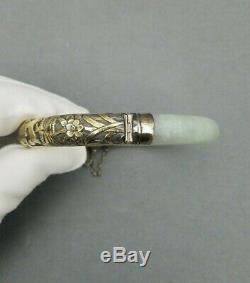 Jade Bracelet D'argent Bracelet Chinois Vintage Antique Jadéite Poisson Gilt Vermeil