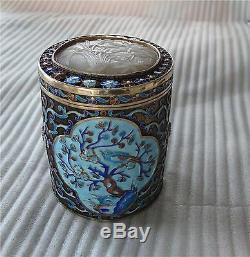 Jade Céladon Chinois Boîte Boîte À Thé En Émail Argent Sterling Doré Pot 332 Gr