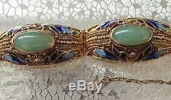 Jade Chinois Vermeil Filigrane Bracelet Et Émail Fleurs